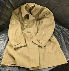 Ww1 Us Army Military Wool Overcoat - Buttons Great Seal Eagle - Greatcoat Wwi