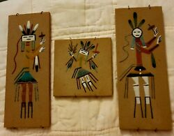 Navajo Sand Paintings Art Set Of 3 Ready To Hang Signed