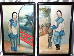 Antique China Trade Paintings 2 Gouache On Fabric Beautiful Woman Bound Feet