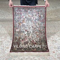 Yilong 2and039x3and039 600lines Handmade Silk Tapestry Hunting Animal Exquisite Rug Mc578h
