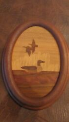 Wood Marquetry Inlay Ducks In Wood Oval Frame Picture - Vintage 1980s