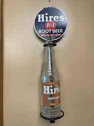 Hires Root Beer Wall Mounted Tin Bottle Holder Display With Acl Soda Bottle