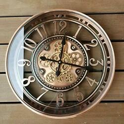 21inch Real Moving Gear Wall Clock Vintage Industrial 21inch Copper Arabic