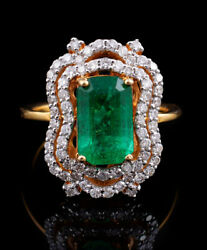 1.55ct Natural Round Diamond 14k Yellow Gold Emerald Cluster Ring Size 7