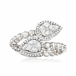 C. 2000 Vintage .91 Ct. T.w. Diamond Bypass Ring In 18kt White Gold. Size 7