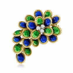 Vintage Diamond Pin With Green And Blue Enamel In 18kt Gold
