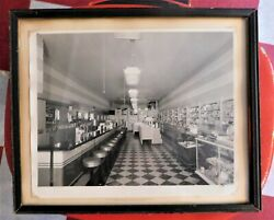 Antique Small Town Kansas Soda Fountain Drugstore Famed Photo 8 By 10