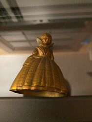 Vintage Solid Brass English Tea/dinner Bell Victorian Woman Lady Girl 2.5 Rare