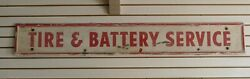 """Vintage 1950s/1960s Firestone Tire And Battery Service Gas Oil 65"""" Metal Sign"""
