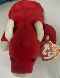 Ty Beanie Baby Snort The Bull 1995 Retired Tag Errors Numeric Date Pvc Pellets