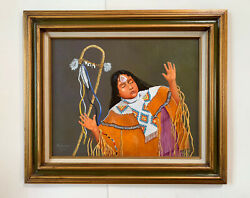 Oil Painting Apache Maiden Native American Girl Woman Portrait By Pawlowske