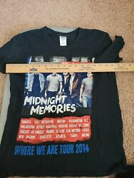 One Direction Band T-shirt 2014 Where We Are Tour Tee In Black Size Small S