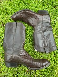 Brown M.l. Leddy Size 14 Mens Full Quill Ostrich Cowboy Boots