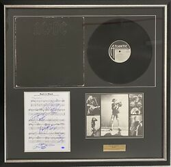 Acdc Angus And Malcolm Young Johnson Williams Rudd Signed Back In Black Framed Coa