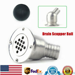316 Stainless Steel Boat Deck Drain Scupper W/ 80mm Ball For Hose 1-1/2marine