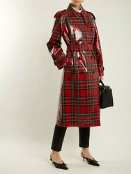 Nwt Plaid Patent Wool Trench Coat Red Us6/ Uk8 Msrp 2695