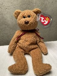 Ty Beanie Babies Curly The Bear Plush - 4052 - Rare Retired With Errors