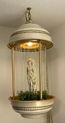 Awesome Vintage Hanging Mineral Oil Rain Lamp With 3 Gold Goddess Statue 28 Tal
