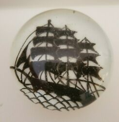 Antique Chinese Clipper Ship Art Glass Paperweight Enameled