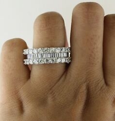10k Gold 4.48 Ct Baguette And Round Real Diamond Full Eternity Wedding Band Size 7