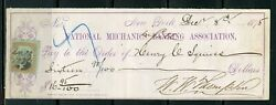 Us National Mechanics Banking Assoc Cancelled Check 12/8/1875 With Revenue Stamp