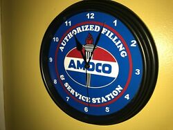 @@ Amoco Oil Gas Service Station Authfill Advertising Bar Man Cave Clock Sign