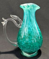 Hand Blown, Signed, Art Glass Carafe / Pitcher W Applied Handle