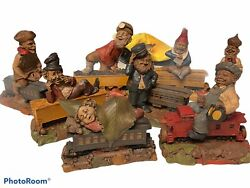 8 Vintage Tom Clark Train Rr Series Gnomes, Hand Cast And Painted. Signed