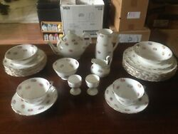 Reduced English Plant Tuscan China Breakfast Set – Pattern 7807 In Vgc