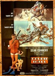 Thunderball 1965 Original German Double Panel Movie Poster 33 X 46 Inches