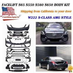 For Mercedes Benz W222 S63 S550 S500 S65 Amg Front Rear Bumper Body Kit 14-21