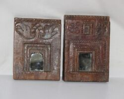 Old Wooden Wall Hanging Frame With Mirror Antique Hand Carved Collectible 12090