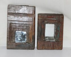 Old Wooden Wall Hanging Frame With Mirror Antique Hand Carved Collectible 12077