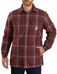 Men's Relaxed Fit Flannel Sherpa-lined Snap-front Plaid Shirt Jacket