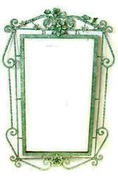 1950s Wrought Iron Floral Scrolled Wall Mirror