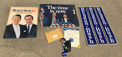 Reagan Bush Poster Campaign Political - Posters, Buttons, Photo 1980, And 1984 Lot