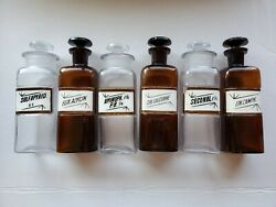 Set Of 6 Antique Apothecary Bottles Reverse Painted Glass Labels 1800s Sedatives
