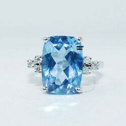 Diamond Blue Topaz Gemstone Solitaire Ring Cocktail Band Statement Rings 14x10mm