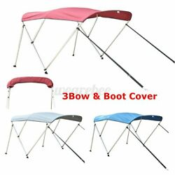 3 Bow 6ft Bimini Top Roof Canopy Canvas Cover Boat With Frame And Boot Cover 600d
