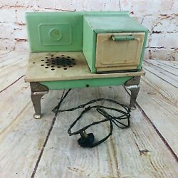 Vtg 1930s Empire Metal Ware Electric Childs Toy Cook Stove Green Cream