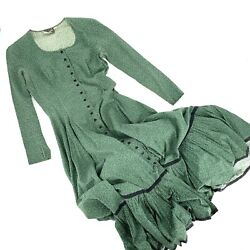 Vintage Betsey Johnson Alley Cat 70s Prairie Dress Green Calico Full Circle 28quot;