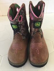 John Deere Boots Baby Infant Size 6m Camo And Pink Euc