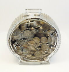 Vintage Anchor Hocking Glass Indian Head Bank Filled W/ 5 Cent Buffalo Nickels