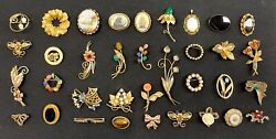 Giant Estate Collection Lot Vintage 12kgf 36 Brooches Pins Pendants Gold Filled