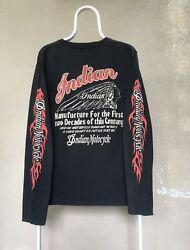 Indian Vintage Long Sleeve Flame Motorcycle T Shirt Black Xl Very Rare