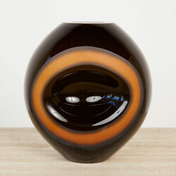 Orange And Black 3d Ovoid Glass With Circular Detail Vessel Vase By Simon Moore