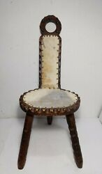 Antique Arts And Crafts 3-leg Spinning/milking Wood Stool Chair Primitive Rustic