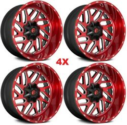 22 Fuel Triton D691 Wheels Rims Brushed Candy Red Milled Deep Lip Xd Tis
