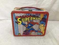 1967 Dc Comics Superman Lunch Box Metal Lunchbox Thermos Complete Rare Condition