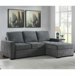 Pulaski Kendale Grey Fabric Sofa Bed With Storage Chaise